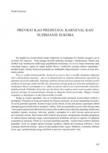 Prevrat kao predstava: karneval kao suzbijanje sukoba : Krležini dani u Osijeku