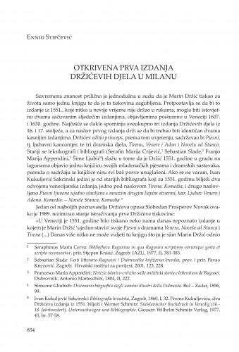 Otkrivena prva izdanja Držićevih djela u Milanu