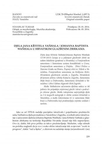 Djela Jana Křtitela Vaňhala / Johanna Baptista Waňhala u hrvatskim glazbenim zbirkama : Radovi Zavoda za znanstveni rad Varaždin