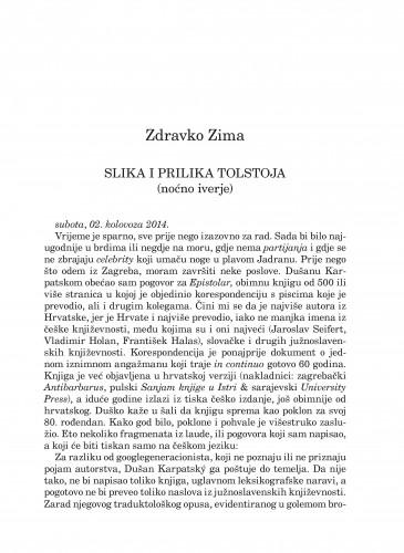 Slika i prilika Tolstoja : (noćno iverje) : Forum : mjesečnik Razreda za književnost Hrvatske akademije znanosti i umjetnosti.