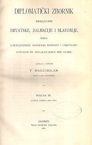 Sv. 9: Listine godina : 1321-1331 : Diplomatički zbornik Kraljevine Hrvatske, Dalmacije i Slavonije