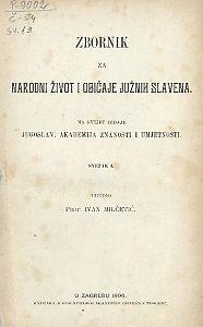 Knj. 1. (1896) : Zbornik za narodni život i običaje