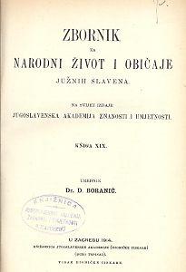 Knj. 19. (1914) : Zbornik za narodni život i običaje