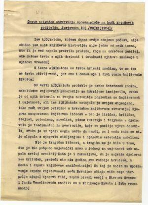 Govor prigodom otkrivanja spomen-ploče na kući Matoševih roditelja, Jurjevska 10. /28.XI.1954./