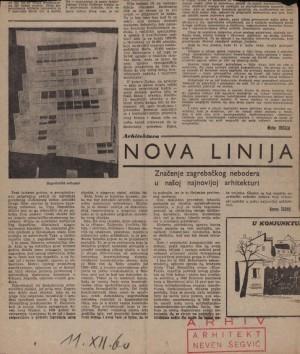 Nova linija : Značenje zagrebačkog nebodera u našoj najnovijoj arhitekturi