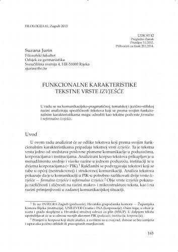 Funkcionalne karakteristike tekstne vrste izvješće : Filologija : časopis Razreda za filološke znanosti Hrvatske akademije znanosti i umjetnosti