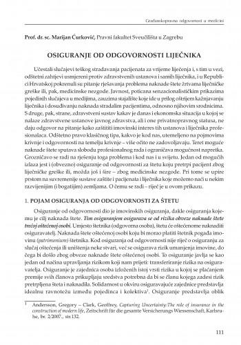 Osiguranje od odgovornosti liječnika : [uvodno izlaganje] : Modernizacija prava