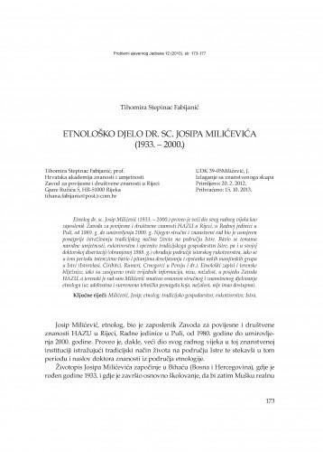 Etnološko djelo dr. sc. Josipa Milićevića (1933. - 2000.) : Problemi sjevernog Jadrana