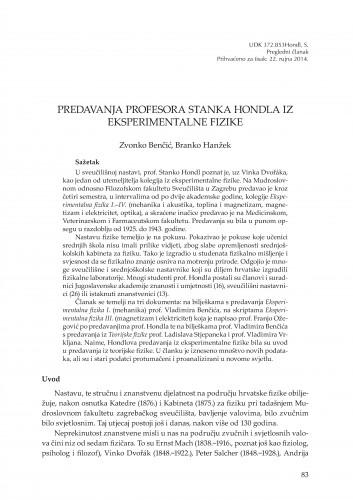 Predavanja profesora Stanka Hondla iz eksperimentalne fizike : Rasprave i građa za povijest znanosti