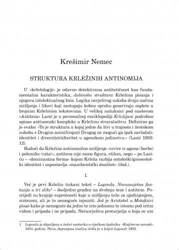 Struktura Krležinih antinomija : Forum : mjesečnik Razreda za književnost Hrvatske akademije znanosti i umjetnosti.