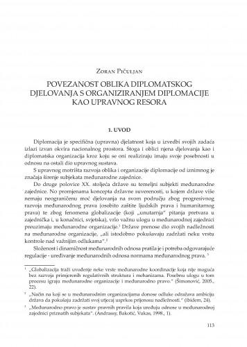 Povezanost oblika diplomatskog djelovanja s organiziranjem diplomacije kao upravnog resora