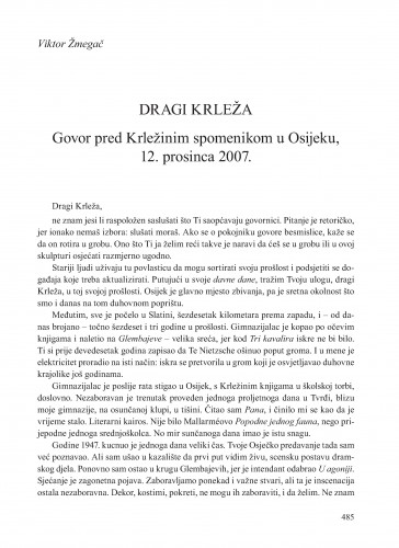 Dragi Krleža : govor pred Krležinim spomenikom u Osijeku, 12. prosinca 2007. : Krležini dani u Osijeku
