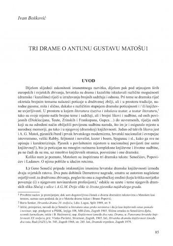 Tri drame o Antunu Gustavu Matošu : Krležini dani u Osijeku