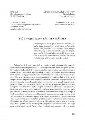 Beč u vrijeme Jana Křtitela Vaňhala : Radovi Zavoda za znanstveni rad Varaždin