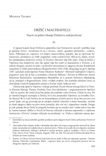 Držić i Machiavelli : nacrt za jedno čitanje Držićeva makijavelizma