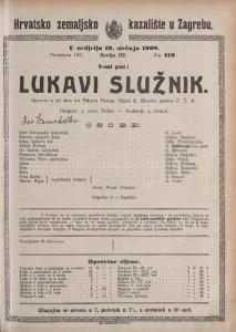 Lukavi služnik opereta u tri čina / od Viktora Parme