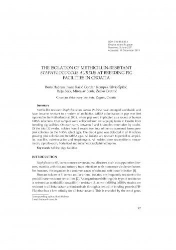 The isolation of methicillin-resistant Staphylococcus aureus at breeding pig facilities in Croatia : RAD