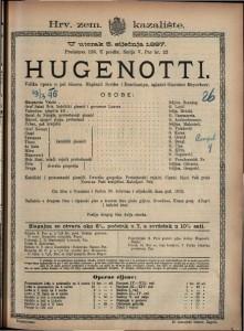 Hugenotti Velika opera u pet činova / uglazbi Giacomo Meyerbeer