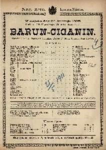 Barun-Ciganin Opereta u 3 čina / Uglazbio Ivan Strauss