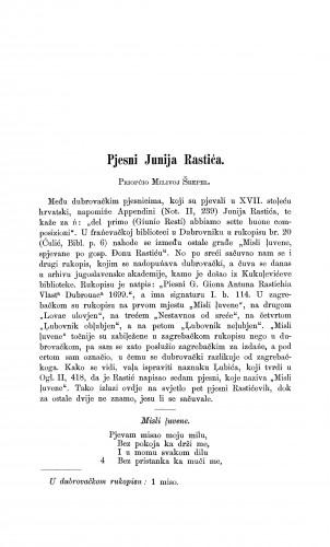 Pjesni Junija Rastića : Građa za povijest književnosti hrvatske