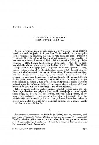 Nepoznati rječnički rad Lovre Terzića : [dva priloga hrvatskoj književnoj povijesti] / Jakša Ravlić