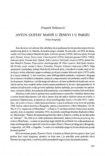 Antun Gustav Matoš u Ženevi i u Parizu / Dragutin Tadijanović