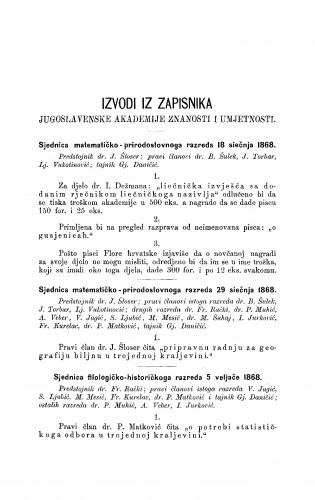 Izvodi iz zapisnika Jugoslavenske akademije znanosti i umjetnosti [1868] : RAD