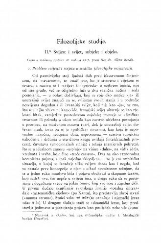 Filozofske studije. II. Svijest i svijet, subjekt i objekt