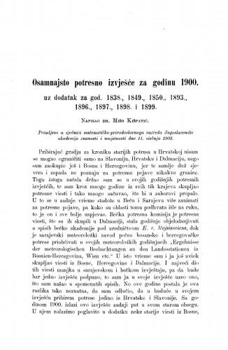 Osamnajsto potresno izvješće za godinu 1900. uz dodatak za god. 1838., 1849., 1850., 1893., 1896., 1897., 1898. i 1899.
