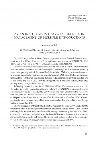 Avian influenza in Italy - experiences in management of multiple introductions