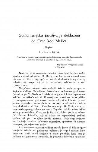 Goniometrijsko istraživanje dekloazita od črne kod Mežica