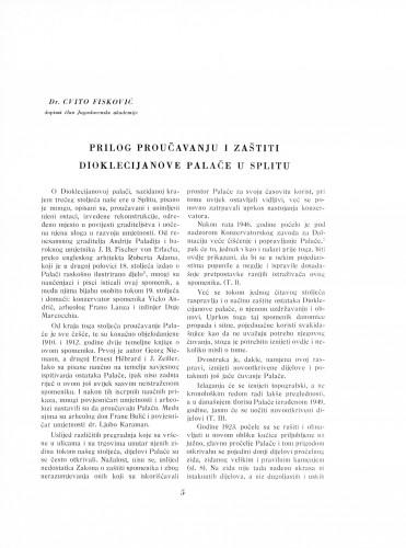 Prilog proučavanju i zaštiti Dioklecijanove palače u Splitu