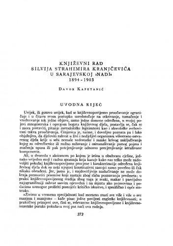 """Književni rad Silvija Strahimira Kranjčevića u sarajevskoj """"Nadi"""" 1894-1903"""