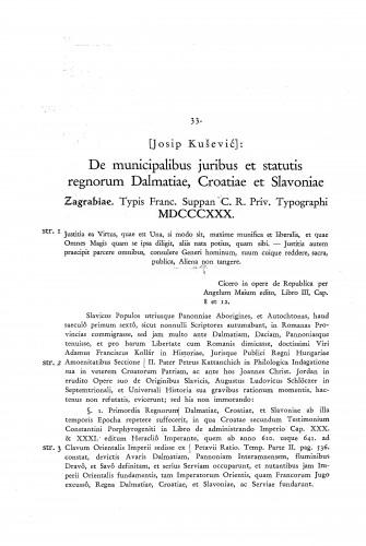 De municipalibus juribus et statutis regnorum Dalmatiae, Croatiae et Slavoniae,,, 1830. / [Josip Kušević]