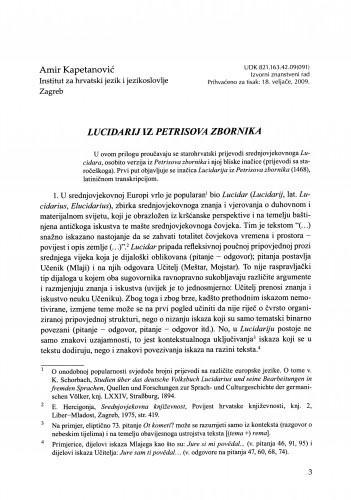 Lucidarij iz Petrisova zbornika : Građa za povijest književnosti hrvatske