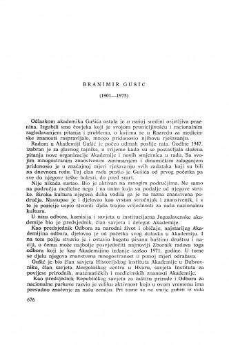 Branimir Gušić (1901-1975) : [nekrolozi] / I. Čupar i M. Marković