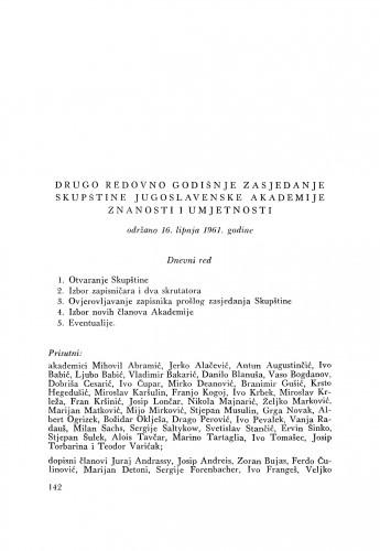 Drugo redovno zasjedanje skupštine Jugoslavenske akademije znanosti i umjetnosti održano 16. lipnja 1961. godine