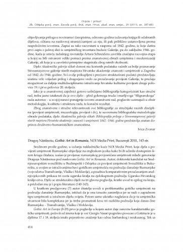 Dragoş Năstăsoiu, Gothic Art in Romania, NOI Media Print, Bucureşti 2010. : [prikaz] : Zbornik Odsjeka za povijesne znanosti Zavoda za povijesne i društvene znanosti Hrvatske akademije znanosti i umjetnosti
