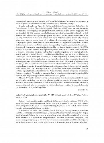 Cahiers de civilisation médiévale, Xe-XIIe siecles, god. 53, br. 209-212, Poitiers 2010. : [prikaz] : Zbornik Odsjeka za povijesne znanosti Zavoda za povijesne i društvene znanosti Hrvatske akademije znanosti i umjetnosti