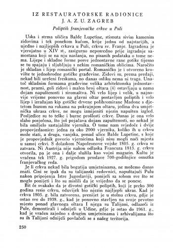 Poliptih franjevačke crkve u Puli : Bulletin Zavoda za likovne umjetnosti Jugoslavenske akademije znanosti i umjetnosti