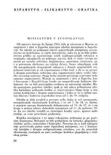 Minijature u Jugoslaviji : Bulletin Zavoda za likovne umjetnosti Jugoslavenske akademije znanosti i umjetnosti
