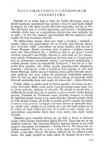 Naša umjetnost u londonskim galerijama : Bulletin Odjela VII. za likovne umjetnosti Jugoslavenske akademije znanosti i umjetnosti