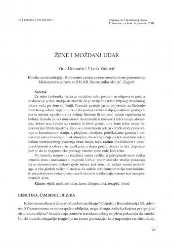 Žene i moždani udar : Posebna izdanja HAZU. Prilozi za strategiju hrvatskog razvoja