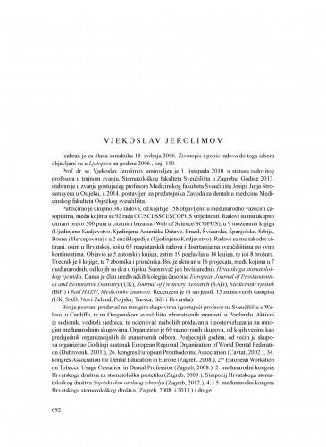 Vjekoslav Jerolimov : Ljetopis