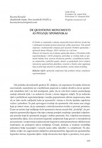De questione monumenti (O pitanju spomenika) : Adrias : zbornik Zavoda za znanstveni i umjetnički rad Hrvatske akademije znanosti i umjetnosti u Splitu