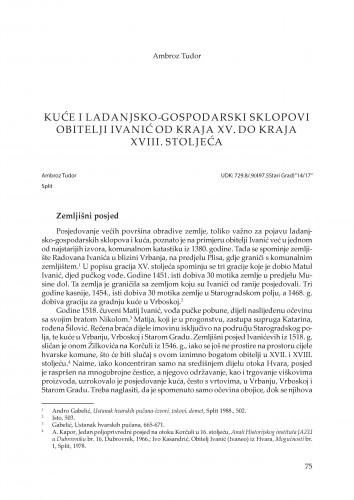 Kuće i ladanjsko-gospodarski sklopovi obitelji Ivanić od kraja XV. do kraja XVIII. stoljeća