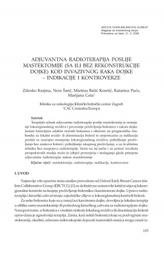 Adjuvantna radioterapija poslije mastektomije (sa ili bez rekonstrukcije dojke) kod invazivnog raka dojke - indikacije i kontroverze