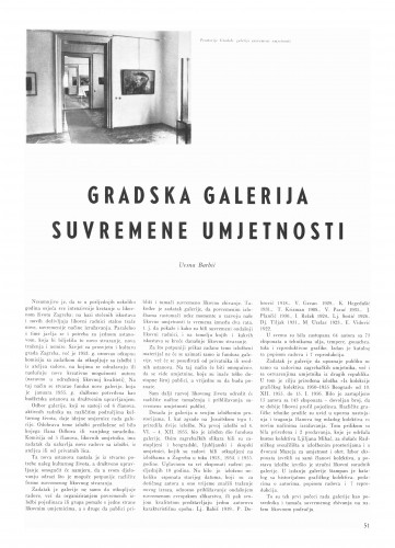 Gradska galerija suvremene umjetnosti : Bulletin Instituta za likovne umjetnosti Jugoslavenske akademije znanosti i umjetnosti