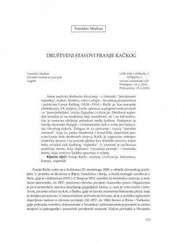 Društveni stavovi Franje Račkog : Zbornik Odsjeka za povijesne znanosti Zavoda za povijesne i društvene znanosti Hrvatske akademije znanosti i umjetnosti