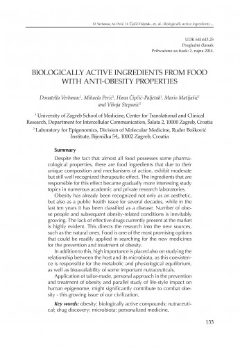 Biologically active ingredients from food with anti-obesity properties